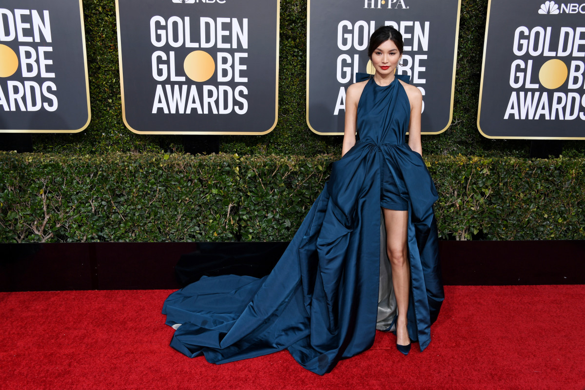 Gemma Chan slaying the red carpet in custom Valentino Haute Couture by Pierpaolo Piccioli at the 2019 Golden Globe Awards; Image via Harper's Bazaar