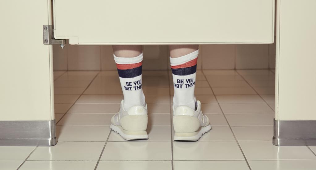 Legit, my most favorite pair of socks I own, the 'Be You, Not Them' are quite TUBEular. Get it? Image via    Kule.com