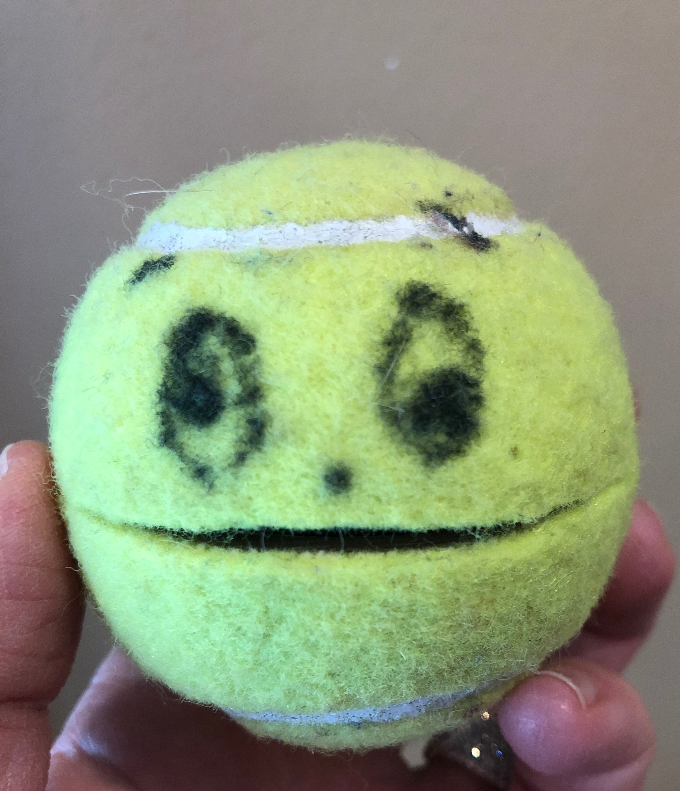 Tennis Ball man is always in my therapy bag! This is the best thing for hand strength- squeeze open his mouth and feed him pennies! Make sure that the thumb is bent rather than hyperextended when squeezing open!