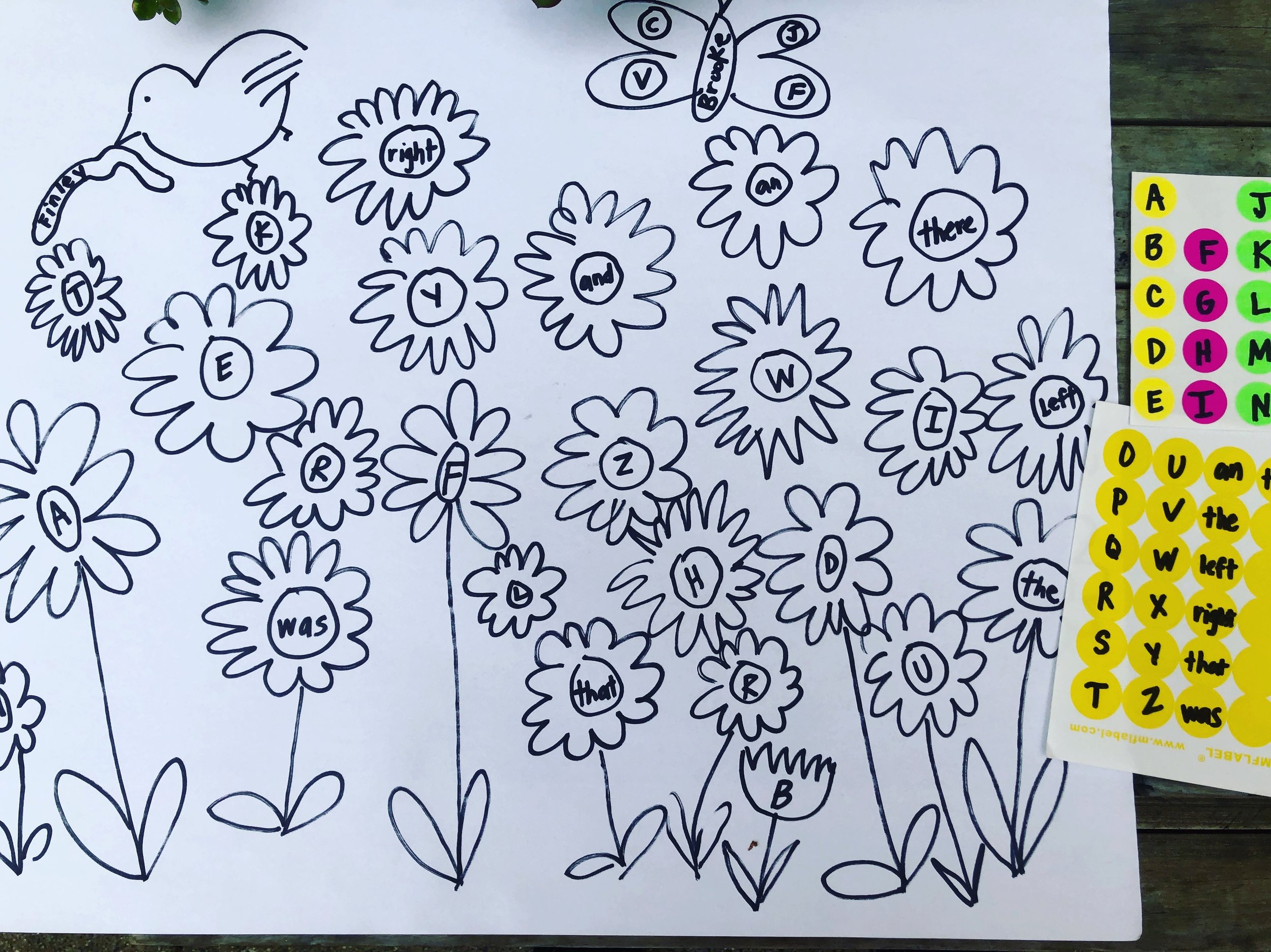 This took 5 minutes to quickly make- drawing flowers with sight words and letters. You can do it with numbers too, and stickers that you can pick up at the grocery store even!