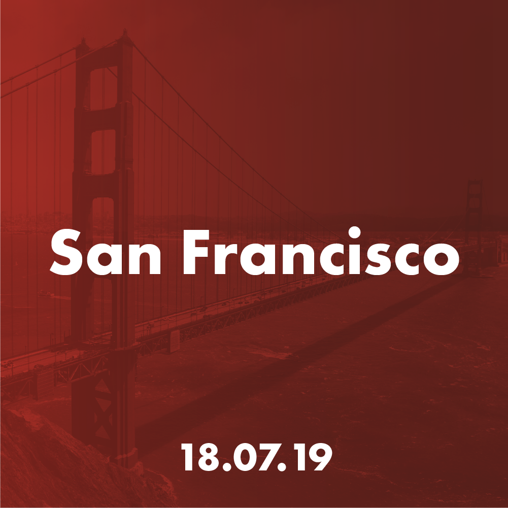 San Francisco - Thu 18 July 2019Venue: TBC