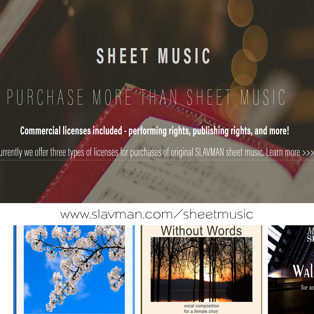 Download and license sheet music by SLAVMAN - accordion music, Bulgarian music, choir, classical, and music fusion. Commercial licenses included.  www.slavman.com/sheetmusic
