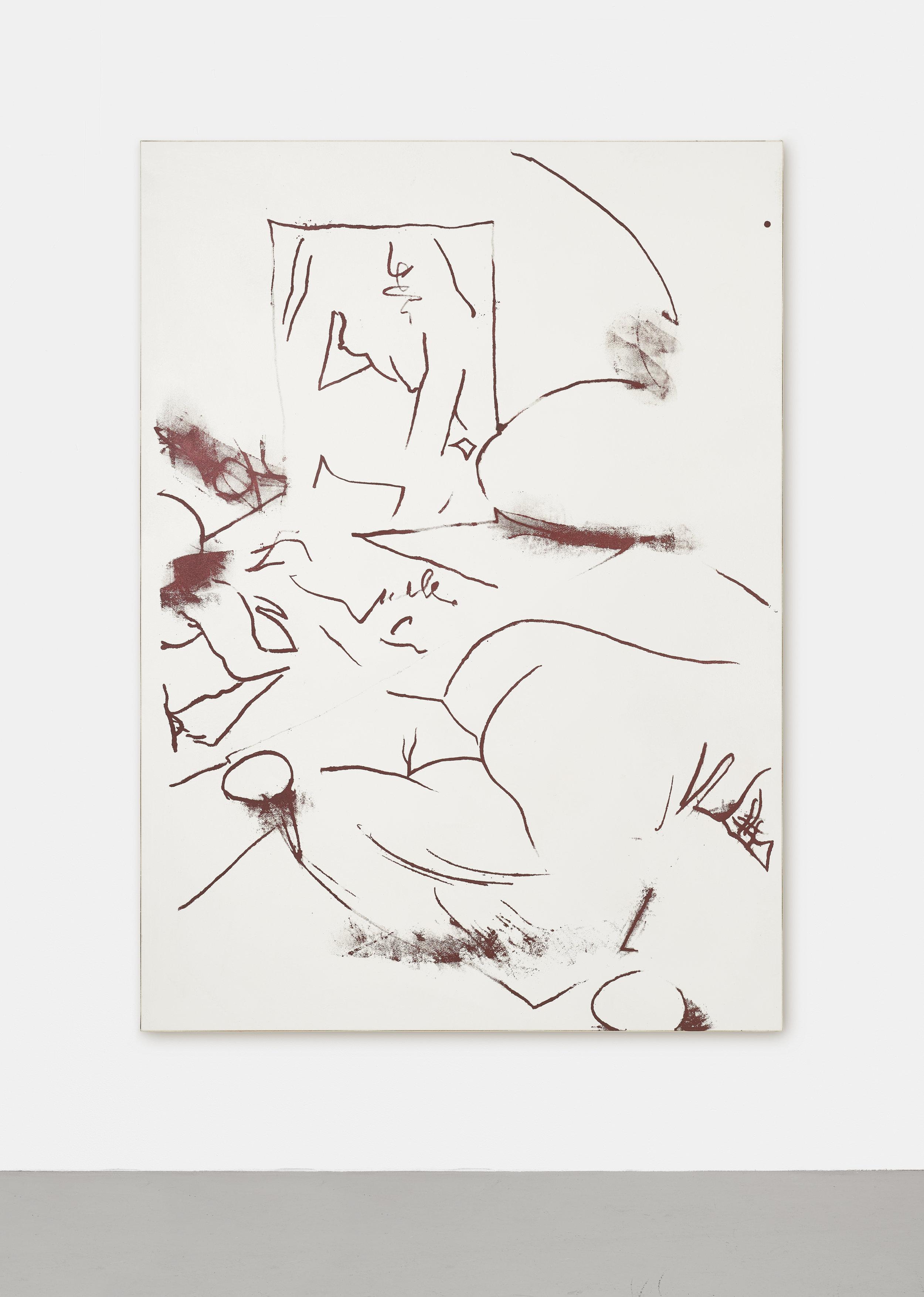 24 H IS ROUND | 2017 - 2019 | Gouache Siebdruck, Acryl, Dammafirniss auf Leinwand | 180 x 130 cm | ©GALERIE ALBER