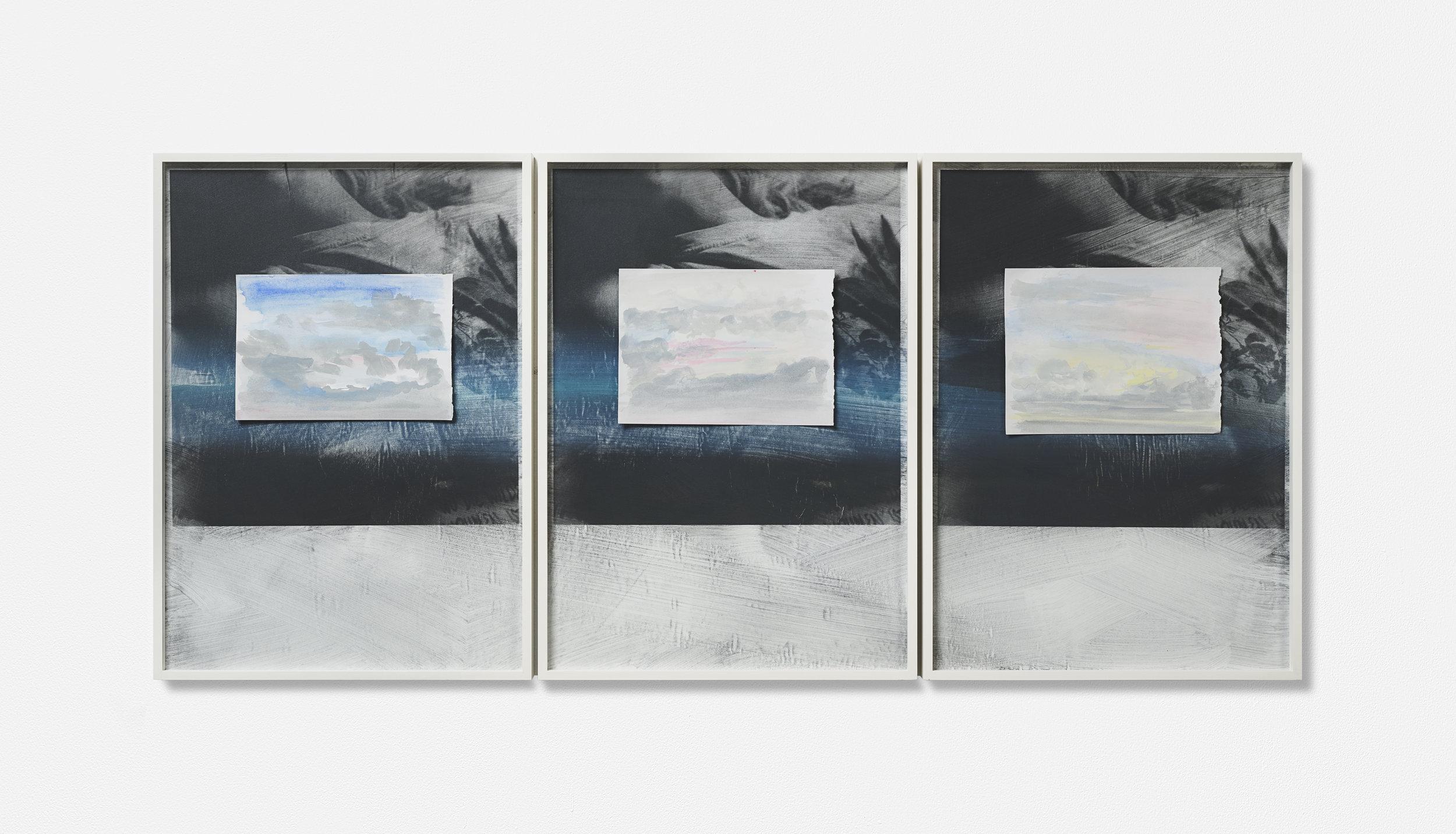 …MONT VENT TOUS / 05. / | 2002 - 2019 | Gouache Siebdruck auf Papier, Aquarellblatt, Künstlerrahmung | 133.5 x 43 x 3.5 cm | ©GALERIE ALBER