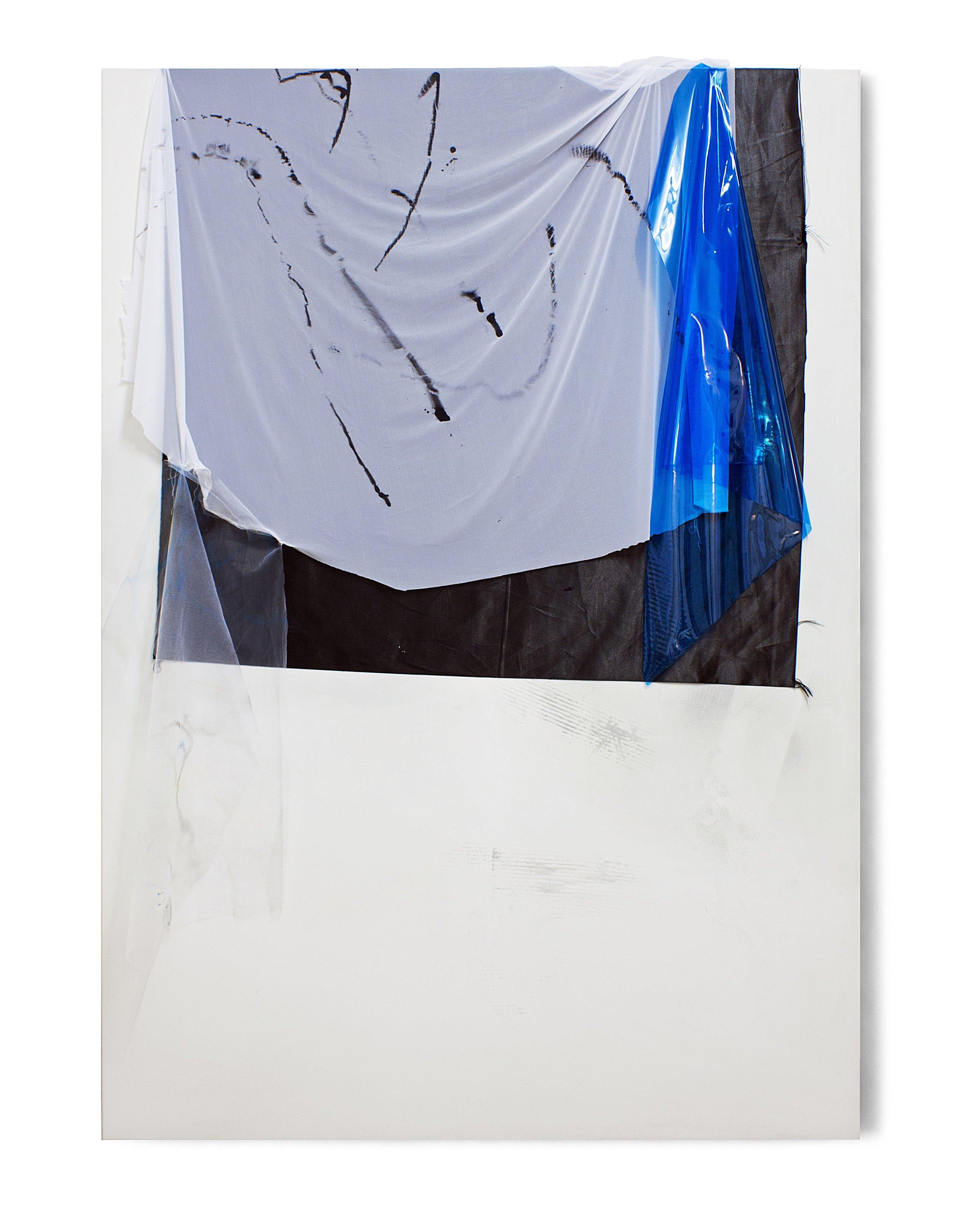 181006 | 2016 | Acryl, Lack, Sprühfarbe, PE Folie auf Leinwand | 185 x 135 cm | ©GALERIE ALBER
