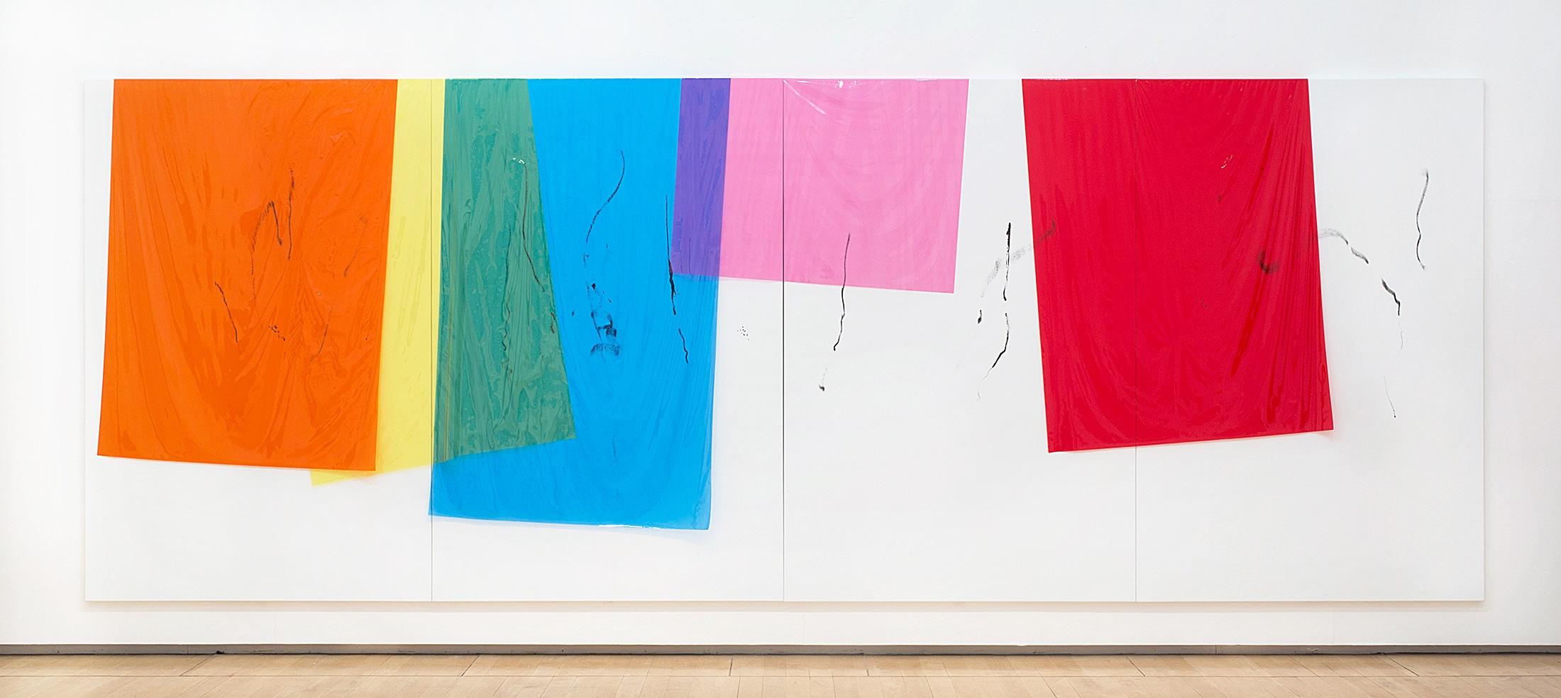 16090 | 2017 | Acryl, Lack, Sprühfarbe, PE Folie auf Leinwand | 240 x 640 cm | ©GALERIE ALBER