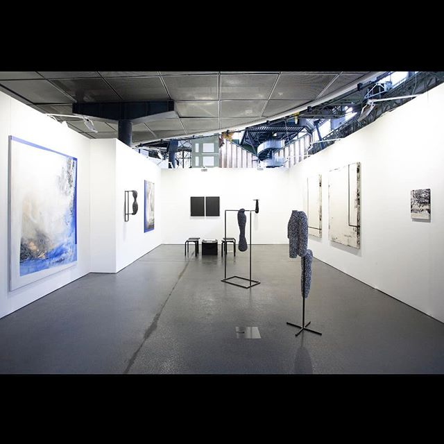 Exhibition view at Art Market Budapest featuring Christian August, Linus Clostermann and Laura Sachs.