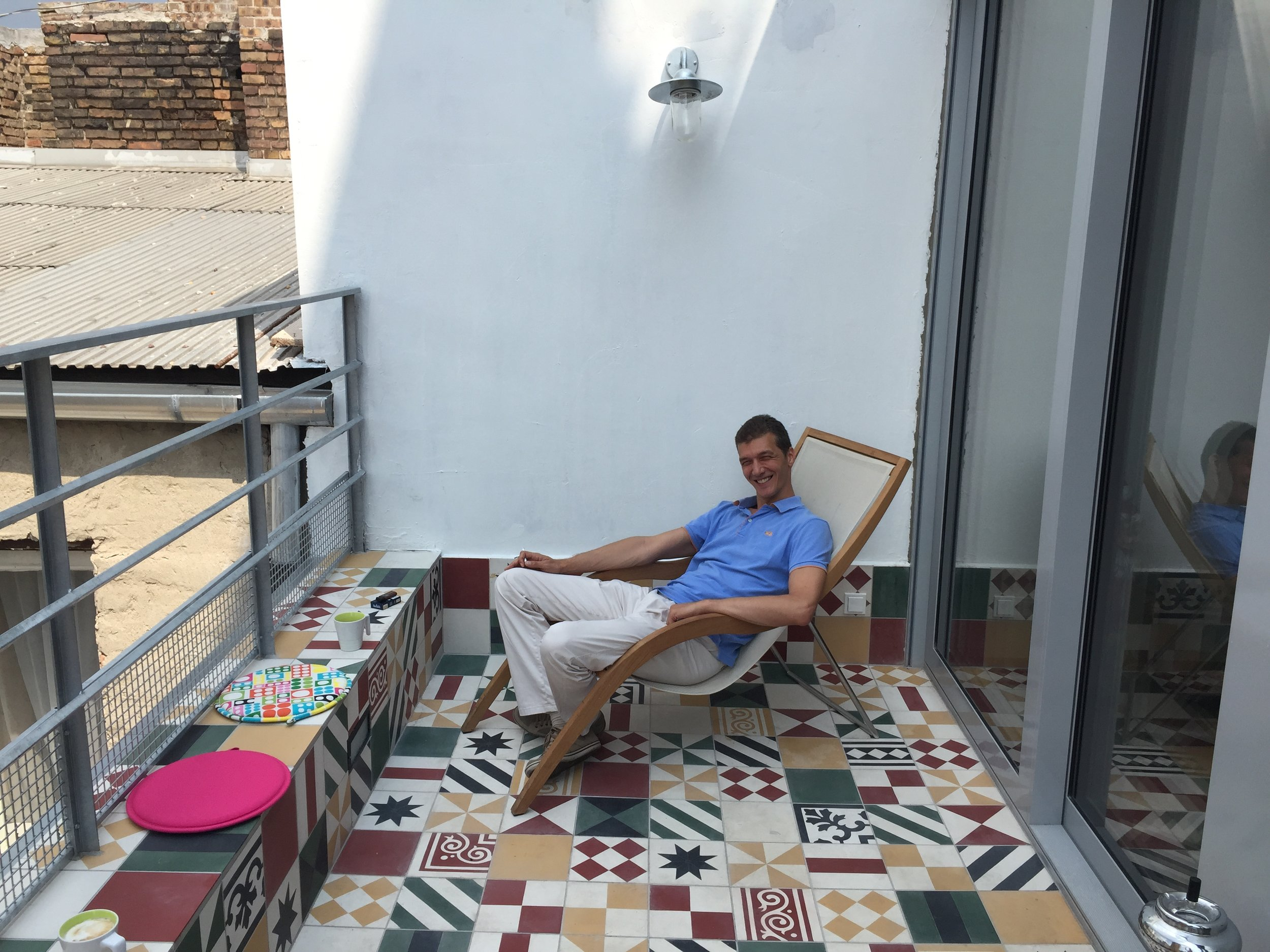 Zoltan relaxing after a hard day coding