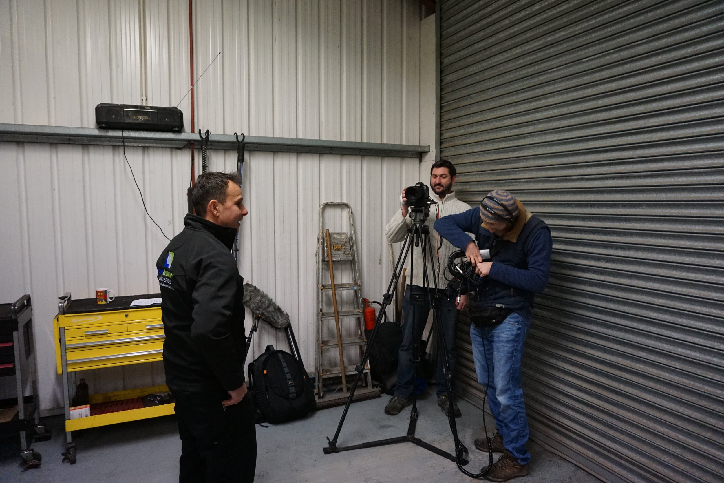 Filming with a customer