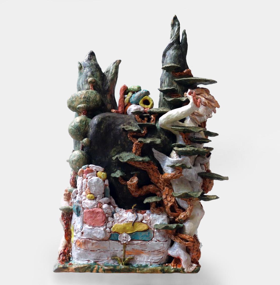 Chris Hammerlein, Leda, 2016, glasierte Keramik, 106 x 70 x 52 cm