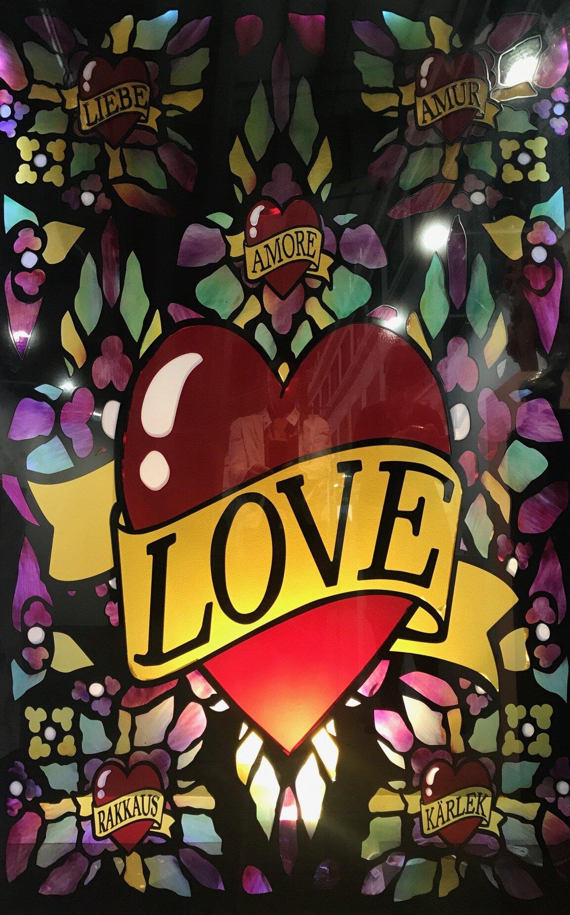 Jani Leinonen_We Find Love in Hopeless Place_2019_99 x 155 cm_ Hand paint ceramic melting colour on glass.jpg