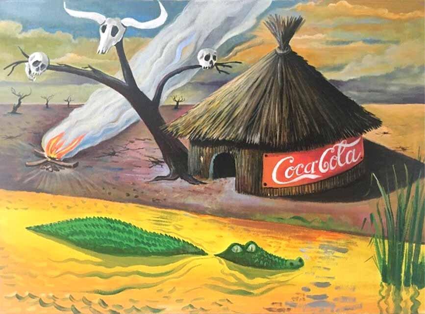 Milan Kunc, Jenseits von Afrika, 2019, Acryl auf Leinwand, 80x110 cm