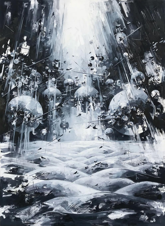 Inna Artemova, Utopia 09 , 2018, Öl auf Leinwand, 190 x 140 cm
