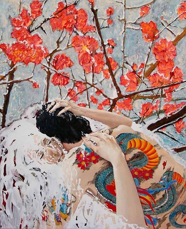 Kerstin Serz, SCHNEESCHMELZE, 2007, 160cm x 130cm,  Öl und Acryl auf Nessel