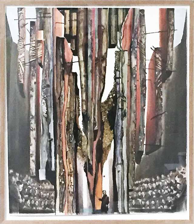 Michael Wutz, Ohne Titel, 2019,  80x50 cm, Collage, Tusche, Acryl
