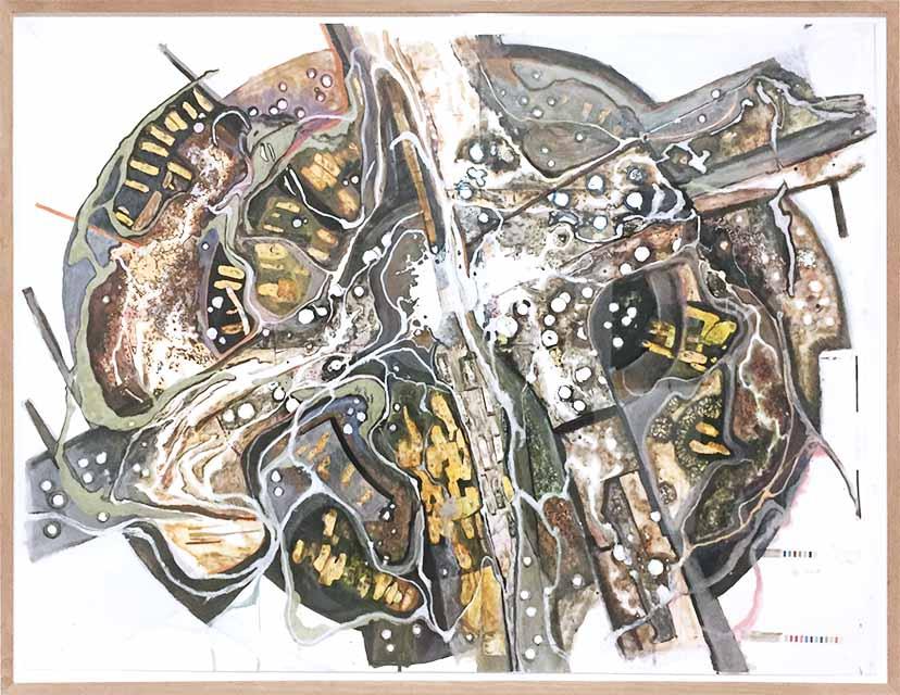 Michael Wutz, Ohne Titel, 2019, ca. 90x130 cm, Collage, Tusche, Acryl