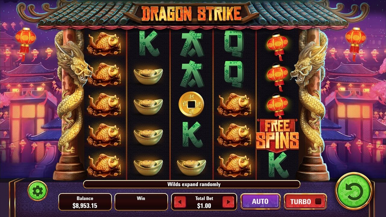 Introduction - This 40-line, 5x5 video slot has three different types of expanding wilds which become sticky during free spins. Feel the power of Dragon Strike with potentially huge wins in both the base game and free spins.