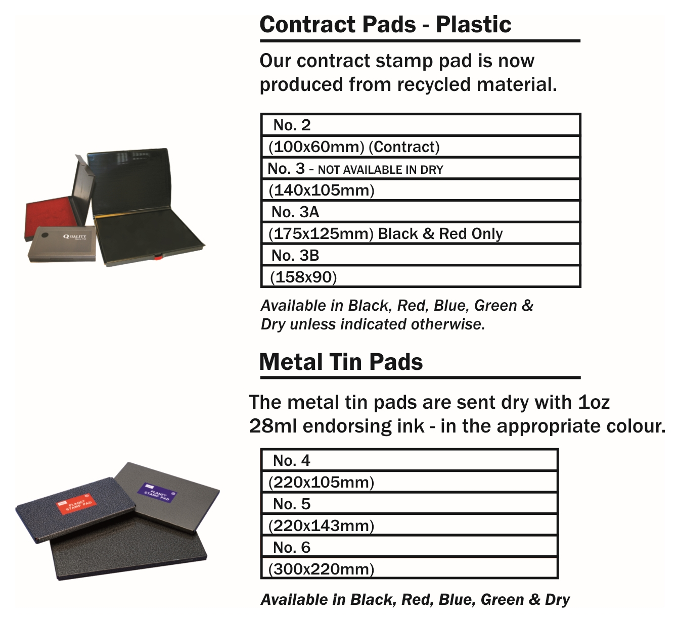 Ink Pads for Rubber Stamps - We stock a full range of ink pads and inks to suit all sizes in our Traditional Rubber Stamp range.