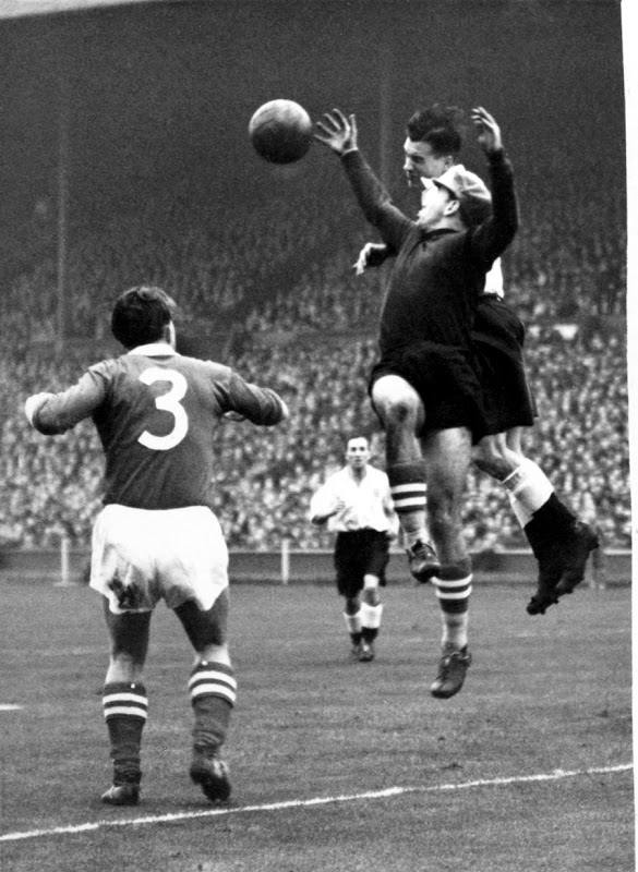 November 1951 Austria goalkeeper is challenged by Nat Lofthouse -