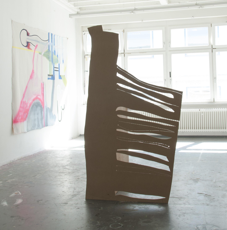 Lagune  MDF, plywood, paper, ca. 207 x 110 x 110 cm exhibition view Mini Rund, Stuttgart 2018