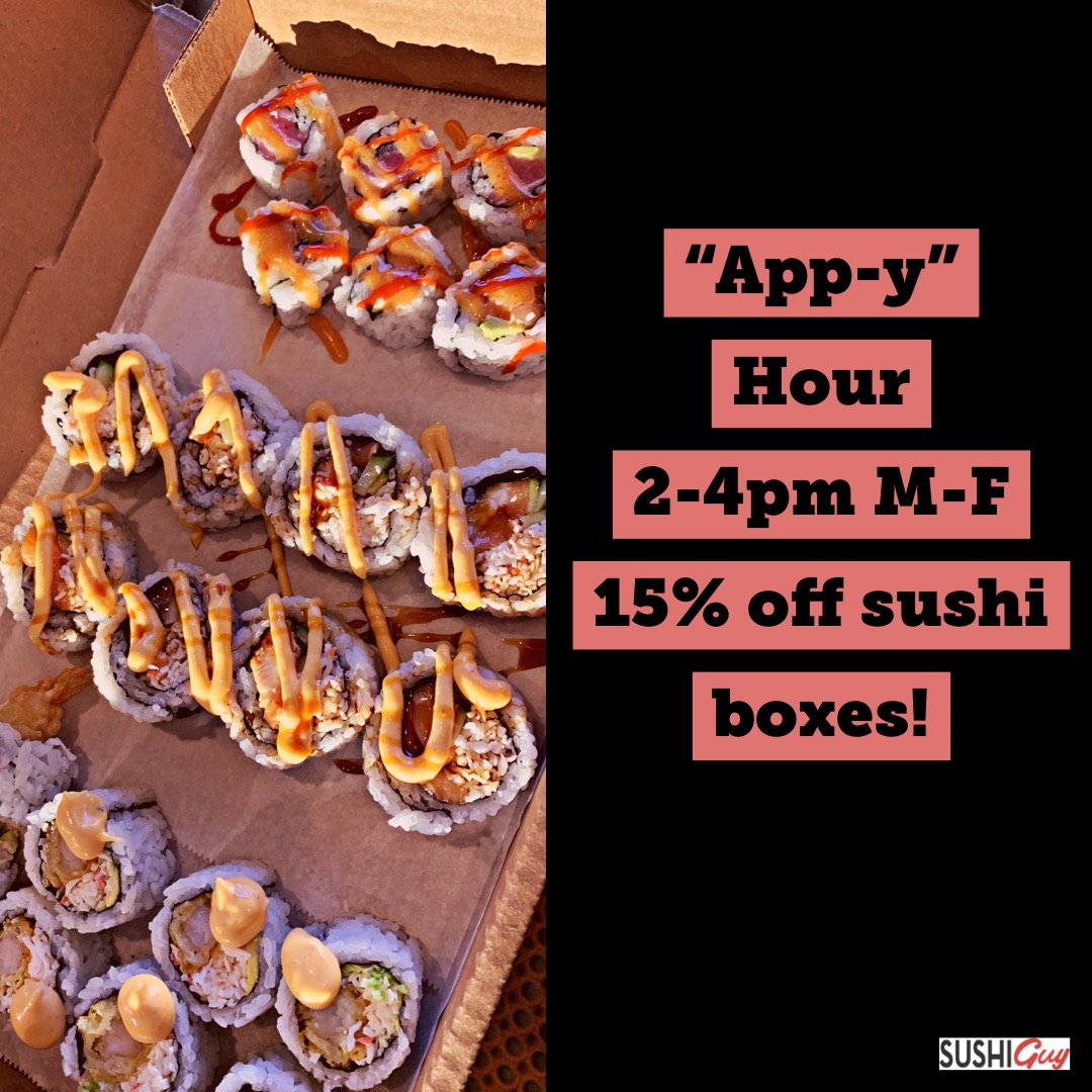15% off sushi boxes from 2-4pm when you order through our app!