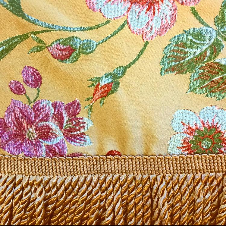 Gold Vintage Floral Damask with Fringe