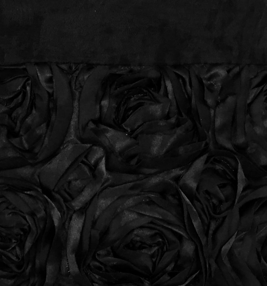 Black Organza with Black Rosette Border