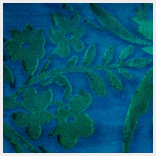 Blue Green Embossed Chiffon