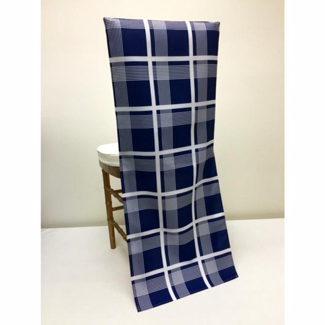 Navy Plaid Chair Back