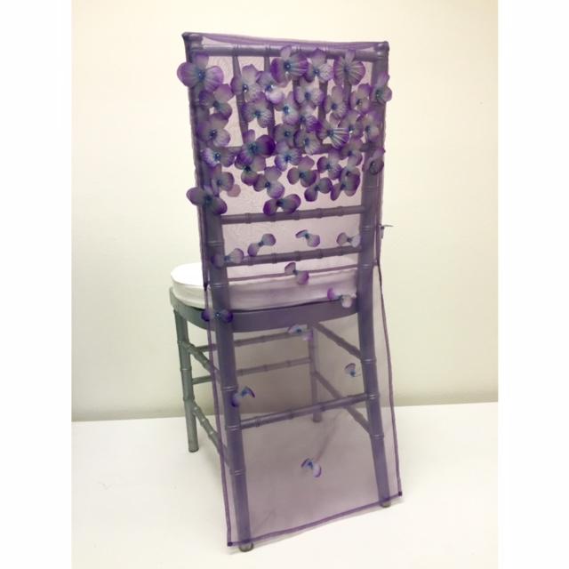 Amethyst Floral Organza Chair Back