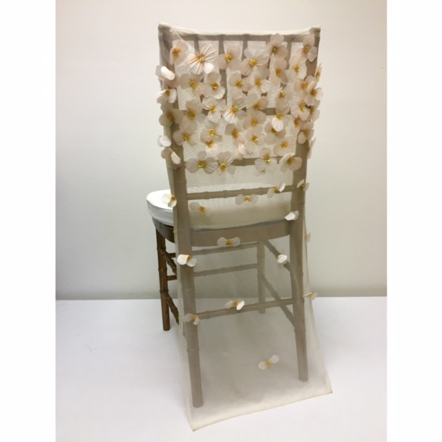 Ivory Floral Tulle Chair Back