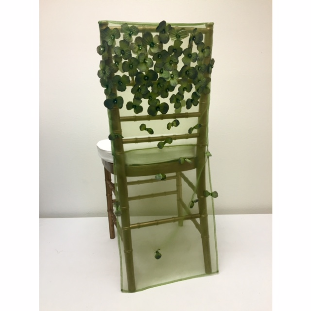 Olive Floral Organza Chair Back
