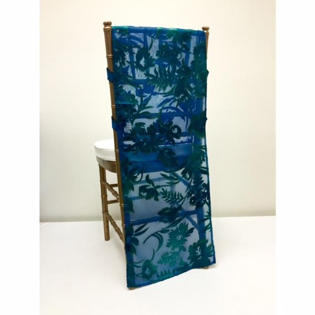 Blue Green Embossed Chiffon Chair Runner