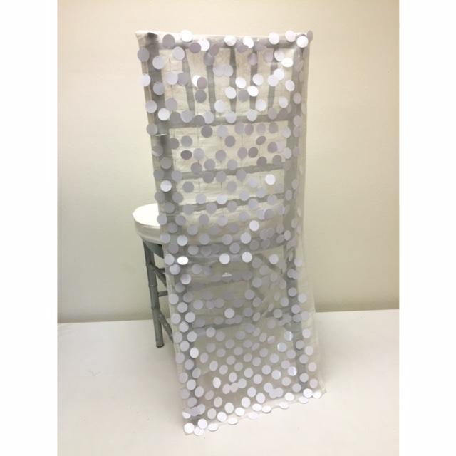 White Paillette Chair Back