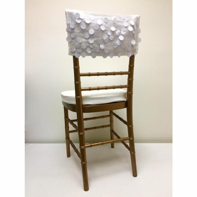White Paillette Chair Cap