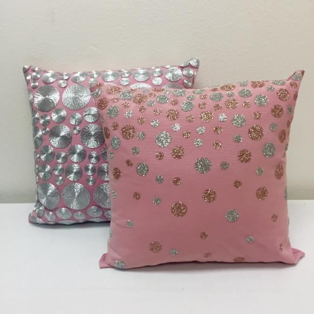 Pink Silver Cord & Pink Champagne Glitter Dot