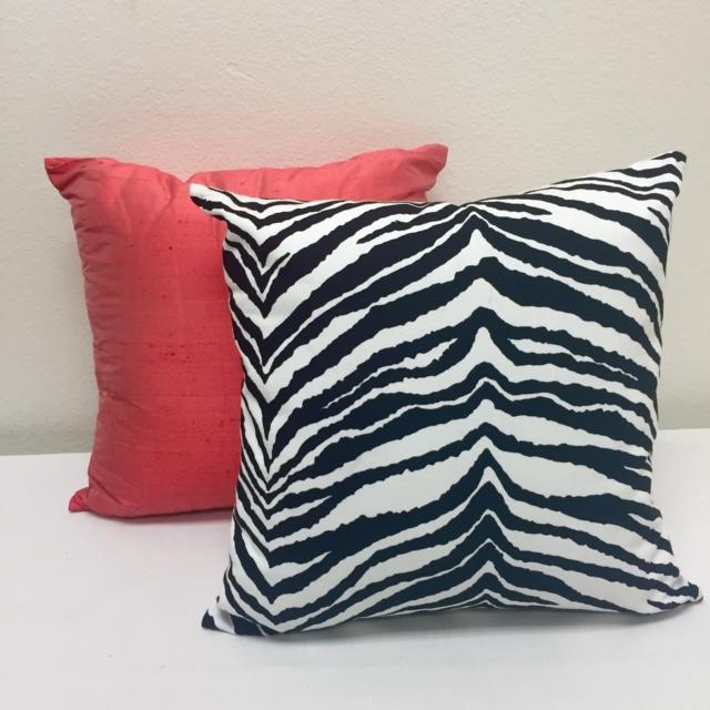 Coral Dupioni Silk & Zebra Print