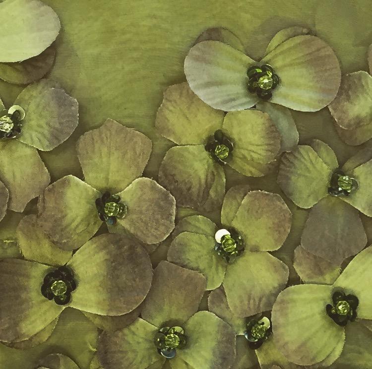 Olive Floral Organza