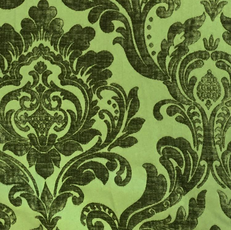 Green Flocked Damask