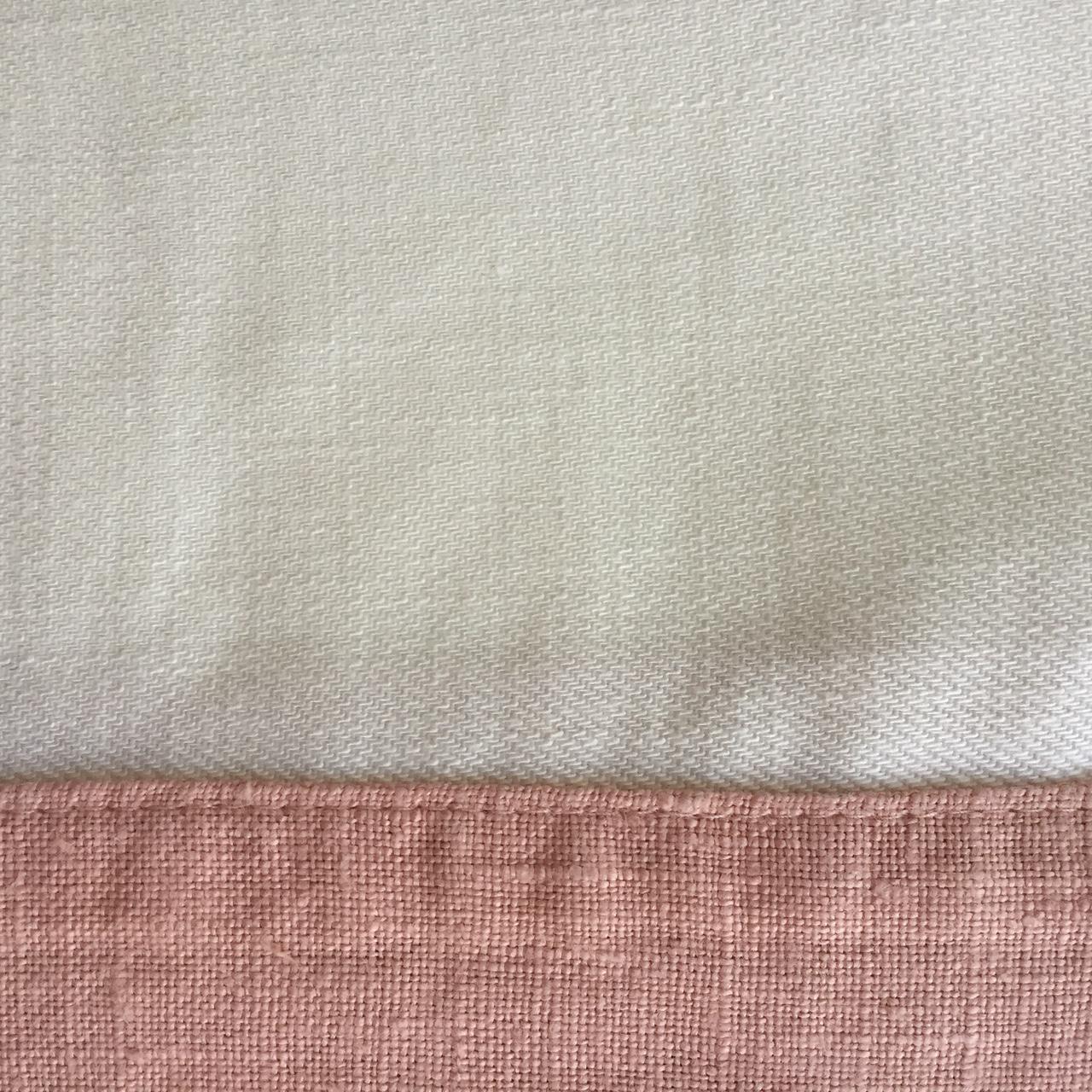 White Italian Linen with Dusty Rose Linen Border