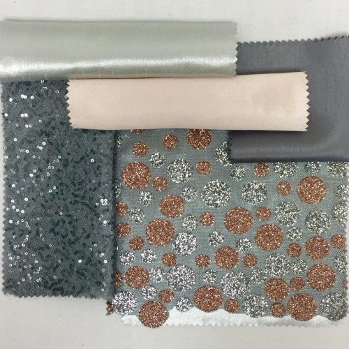 Silver Metallic Nu Silk | Blush Sateena | Platinum Nu Silk |Charcoal Sequin Mesh |Smoke Glitter Dot |Steelite Nu Silk