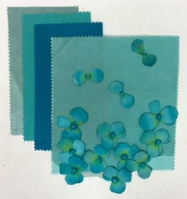Blue Green Floral Organza | Tiffany Nu Silk | Teal Nu Silk |Tropic Nu Silk | Jade Nu Silk