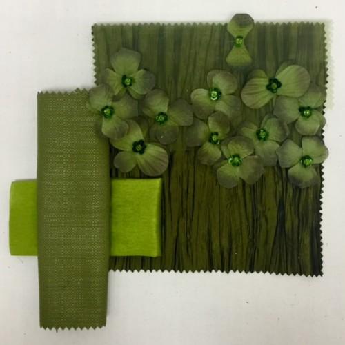 Olive Floral Organza | Olivewood Bark | Grass Nu Silk | Fern Textured Linen