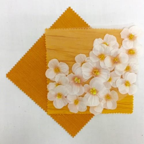 Ivory Gold Floral Organza | Marigold Bark | Citrus Textured Linen
