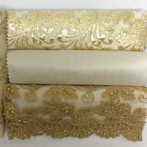 Gold Leaf Lame | Ivory Nu Silk | Gold Embroidered Lace | Gold Beaded Tulle