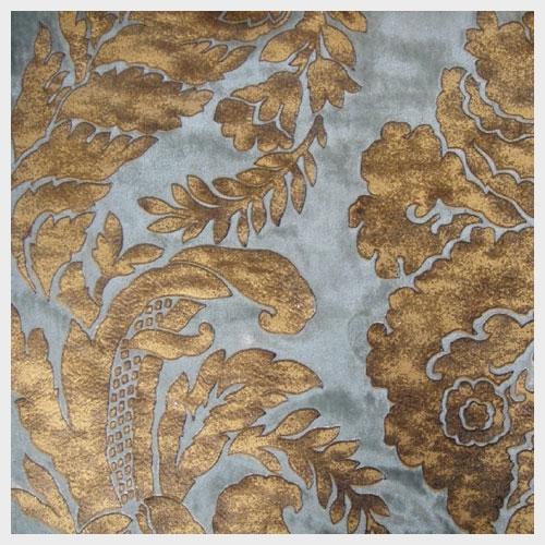 French Blue Leather Embossed Velvet