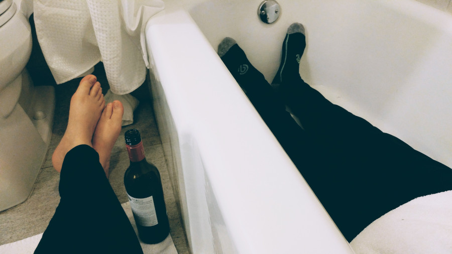What do you do when your toddler is asleep in the hotel room and it's 8:30pm? sit in the hotel bathroom and drink cheap wine from Trader Joe's…