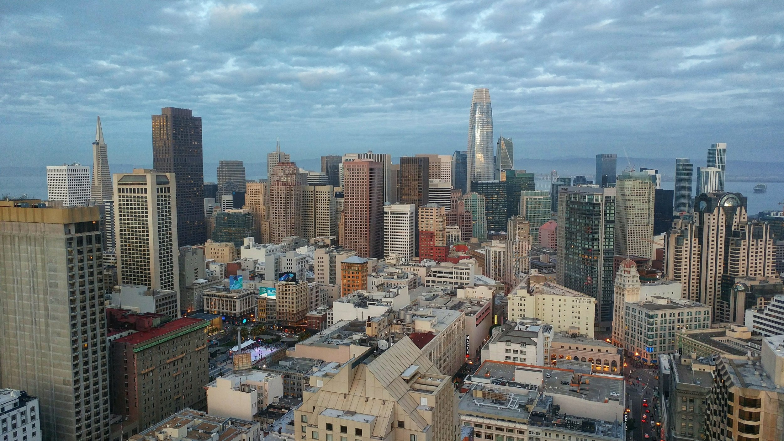 The San Francisco Skyline from the Top of the Hilton