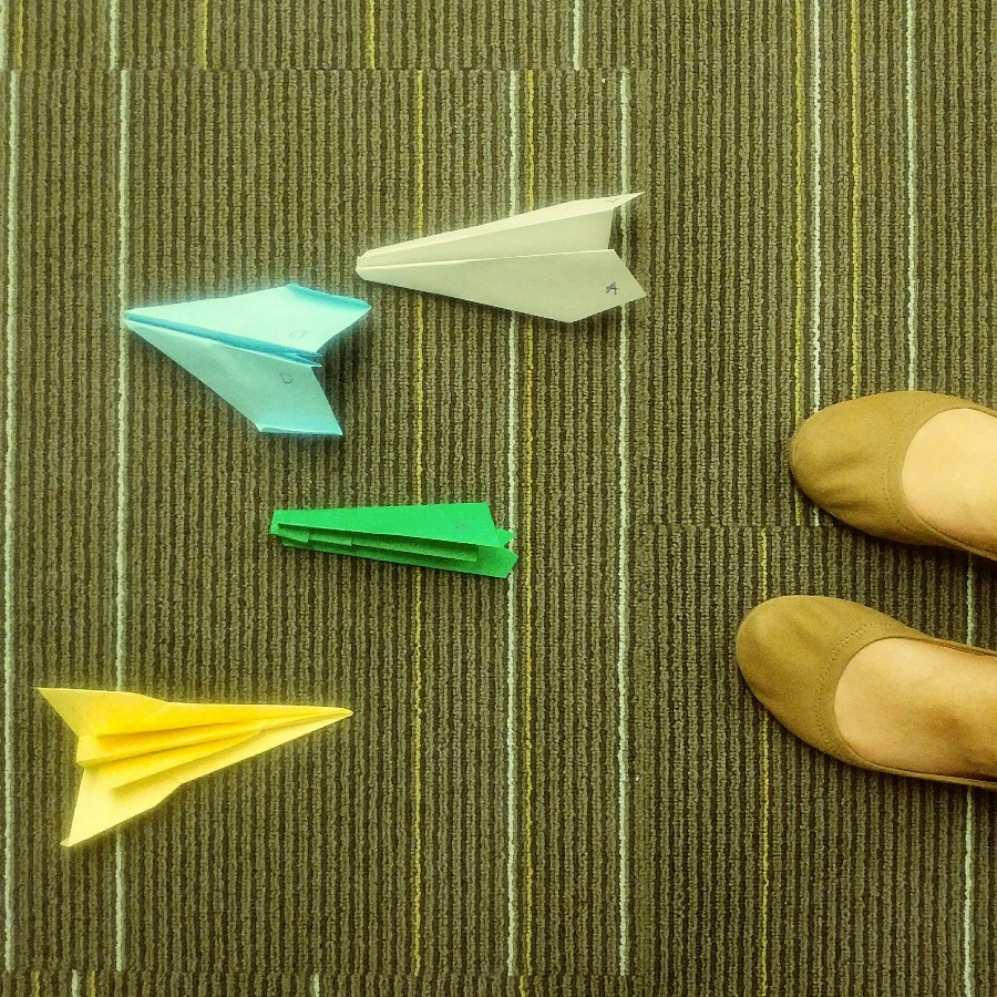 My first day of class this year where we flew paper airplanes… this week marked my last in person class for the term