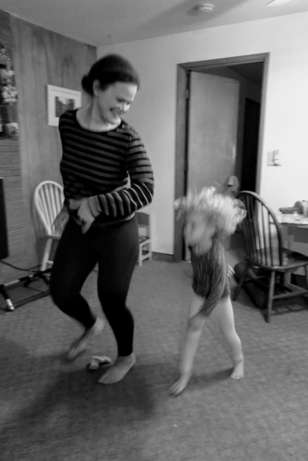 Action shot: Ellie and I dancing in the kitchen